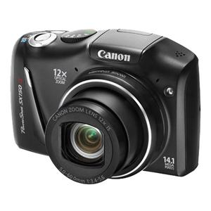 Canon Powershot SX150 IS in Black •12x zoom, 28mm wide lens •14.