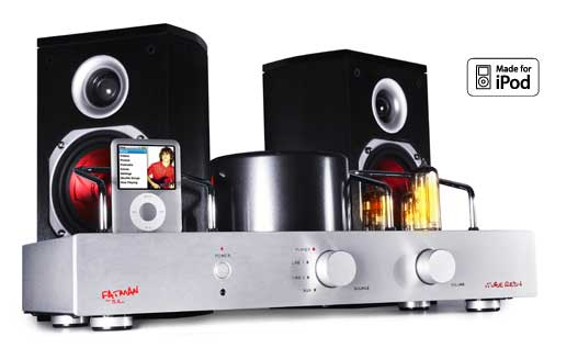 FATMAN iTUBE RED-i VALVE AMPLIFIER WITH iPOD DOCK AND SPEAKERS